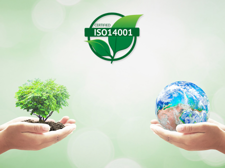 Two hands holding a tree and earth globe to represent that Green Ewaste Recycling Center is ISO-14001 Certified and a Responsible E-waste Recycler